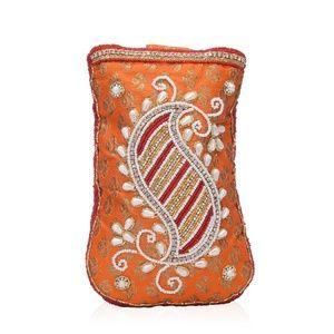 Handbags - Orange Paisley Embroidered Crossbody Potli Pouch